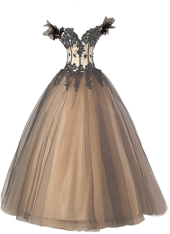Kivary Women S Black And Champagne Long Off Shoulder V Neck Corset Tulle Prom Wedding Dresses Us 2 At Amazon Online Wedding Dress Bridal Corset Wedding Dresses [ 1500 x 1088 Pixel ]