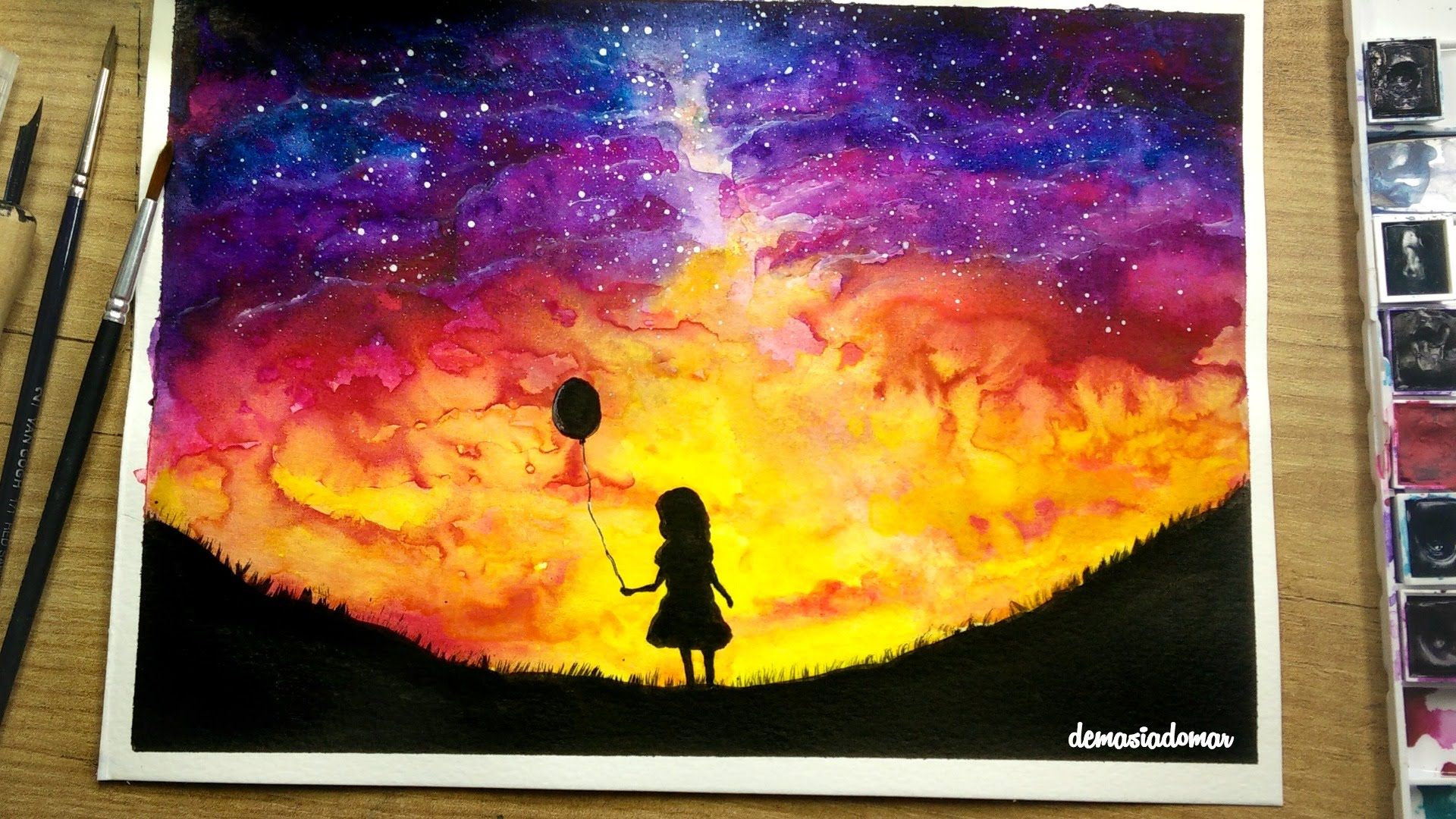 Watercolor Painting Of A Girl With A Balloon Don T Forget To