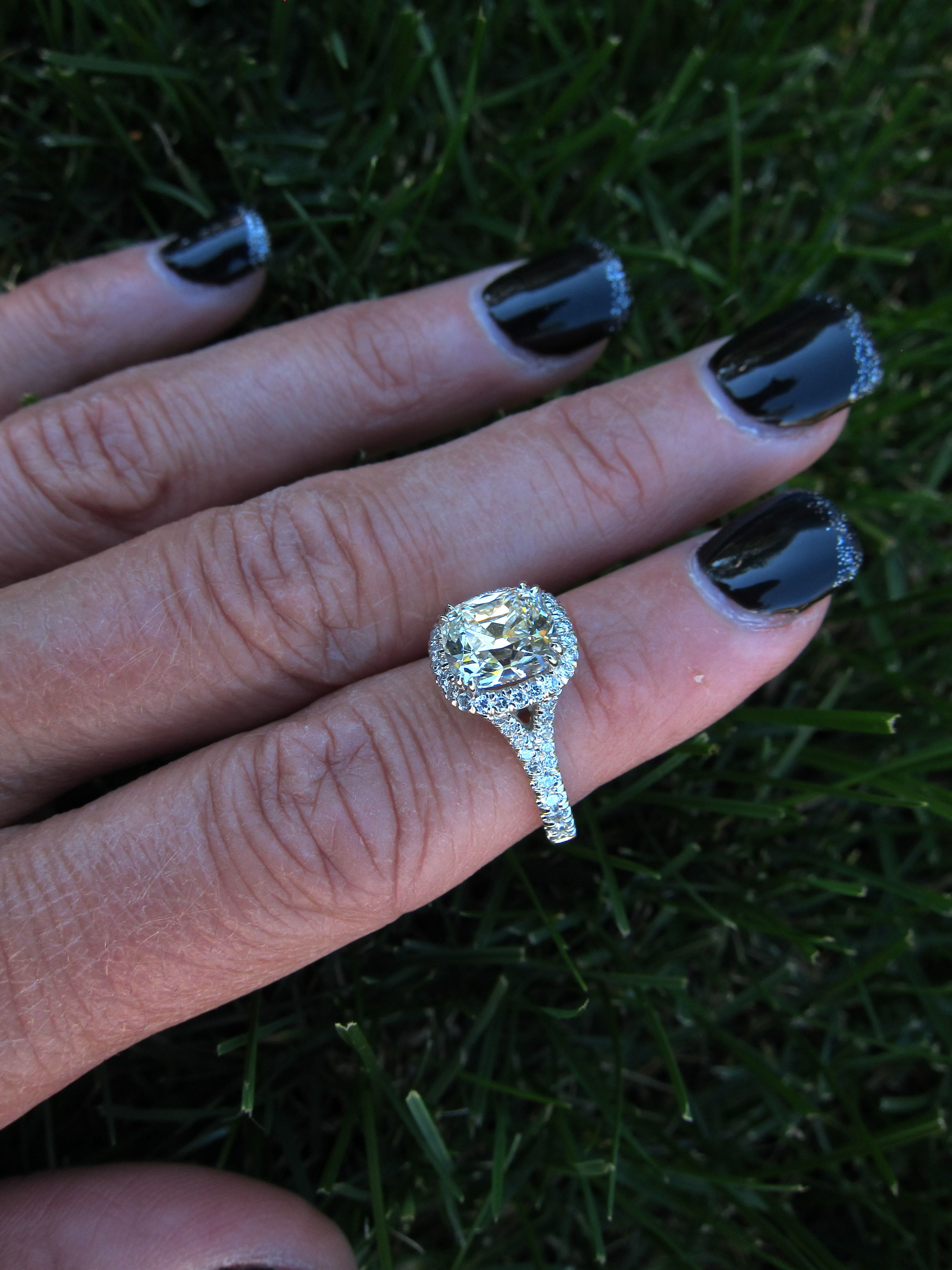 My ring! 1.87 ct August Vintage Cushion (AVC), partial split-shank ...