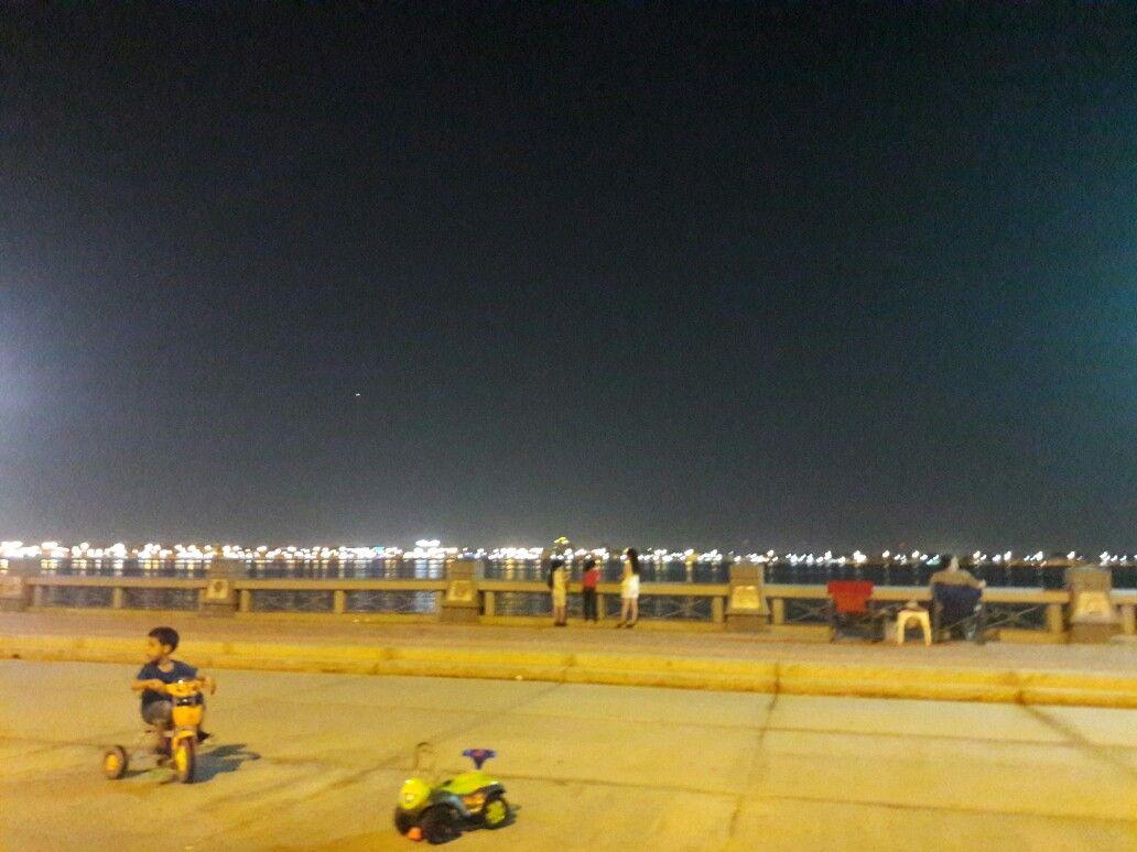 Dammam Corniche At Night Where Many Families Spend Their Weekend Dammam Saudi Arabia Photo