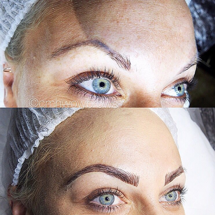 Hair stroke feather touch tattooed eyebrows cosmetic