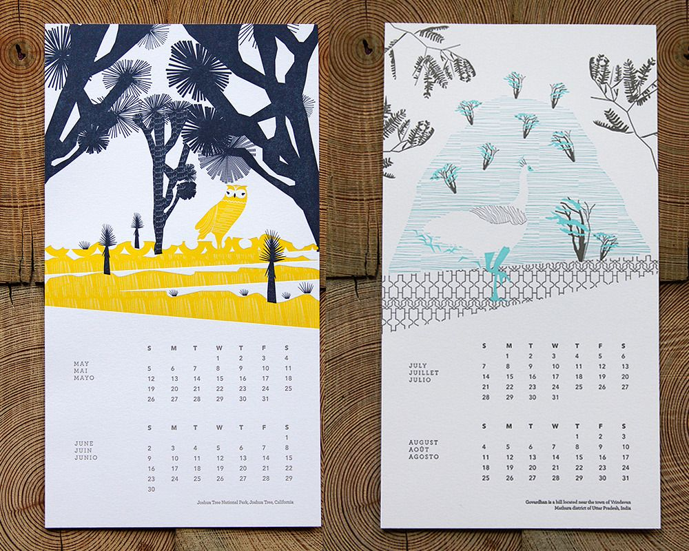 Letter Press - INK+WIT — 2013 Vortex Letterpress Calendar Ready to Hang