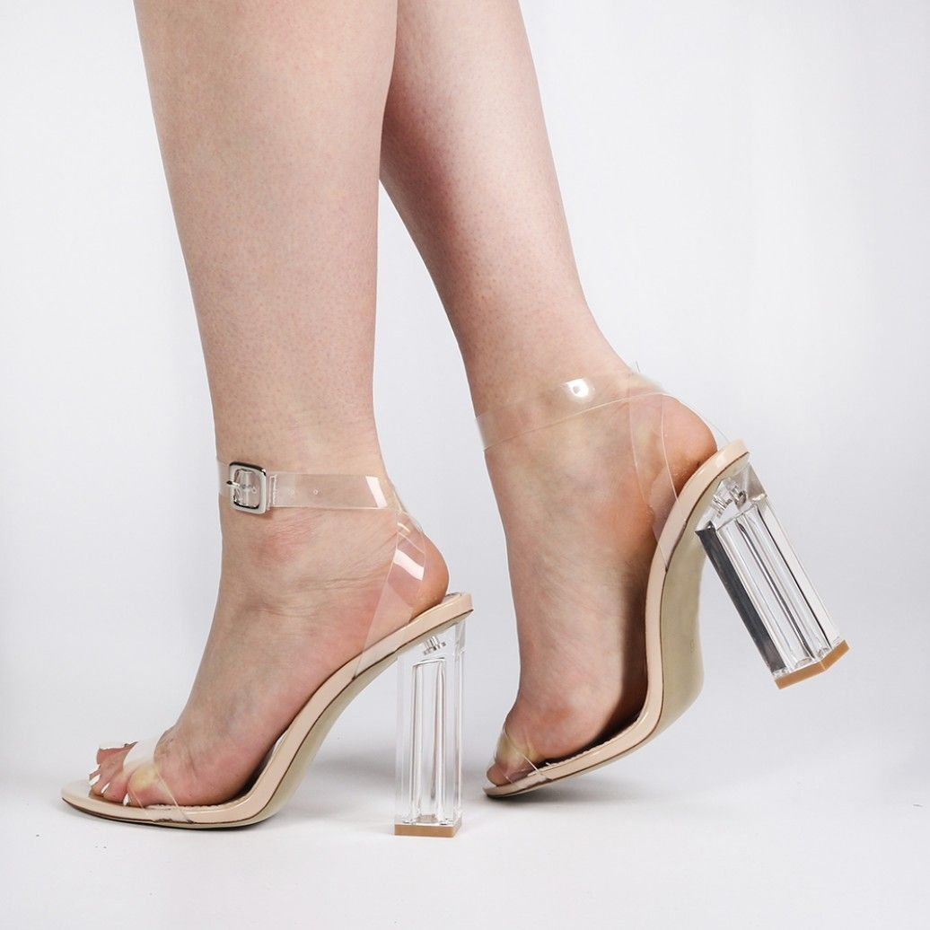 Alia Strappy Clear Perspex High Heels in Nude