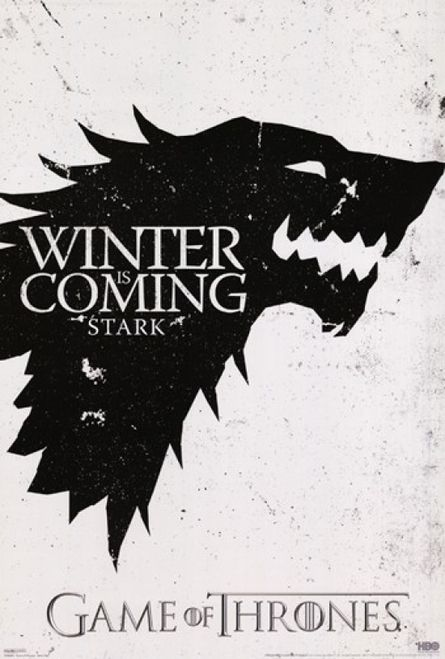 STICKER AUTOCOLLANT POSTER A4 SERIE GAMES OF THRONES.MAISON STARK WINTER IS COM