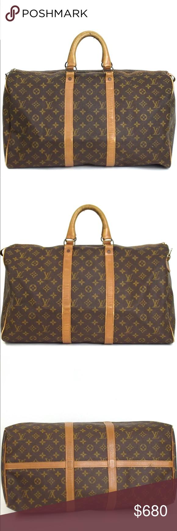 Auth RARE Louis Vuitton Keepall Bandouliere 50 Bag Louis