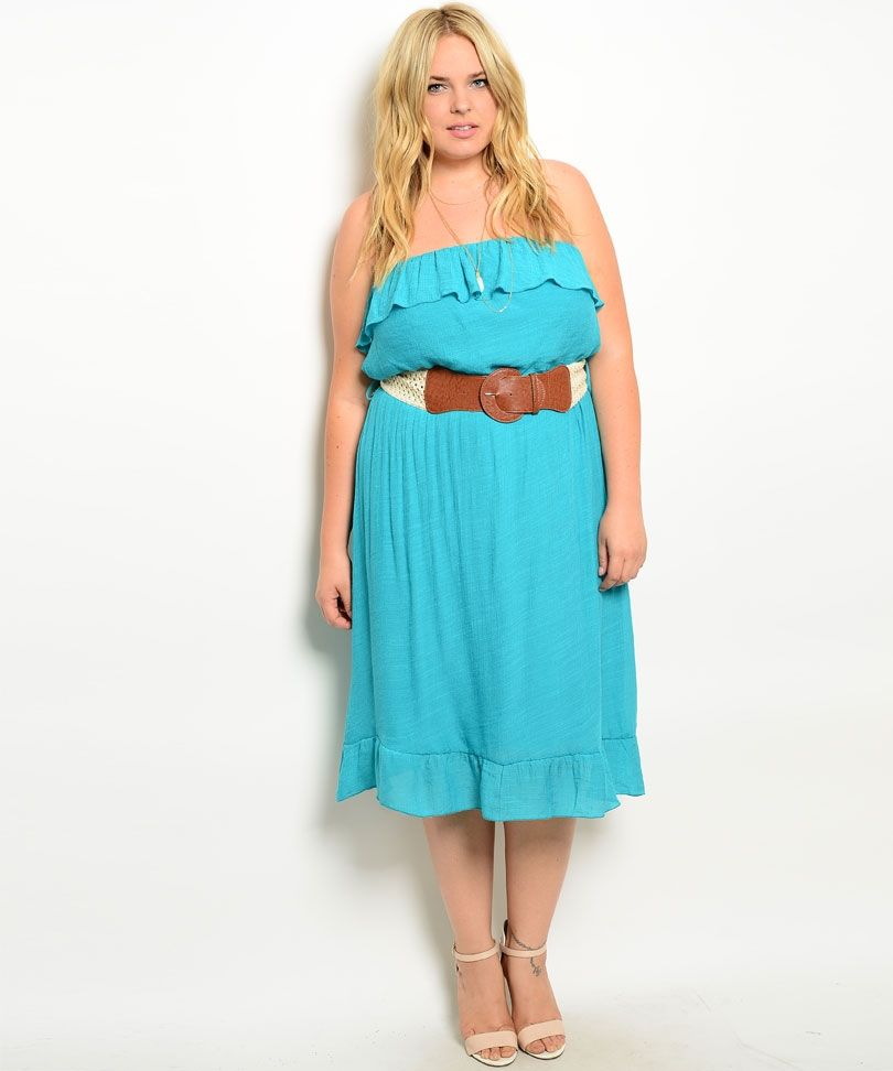 C44-A-D2259 TEAL PLUS SIZE DRESS 2-2-2 | cute plus size outfits ...