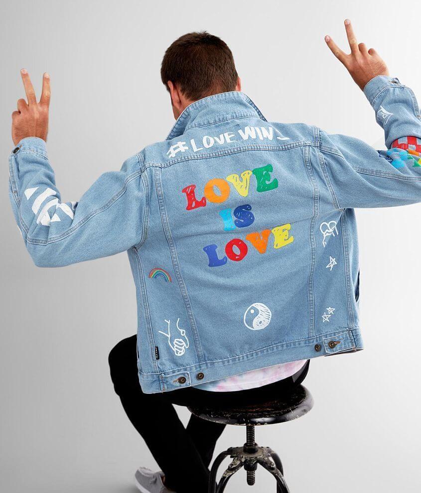 Brooklyn Cloth Pride Doodle Denim Jacket Men S In 2021 Denim Jacket Men Denim Jacket Clothes [ 990 x 845 Pixel ]