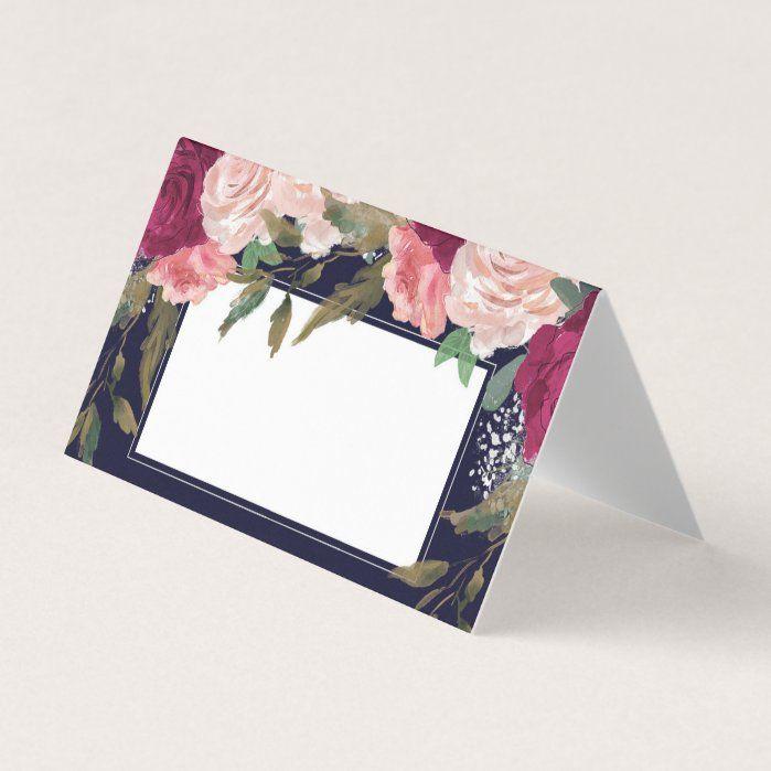 burgundy pink floral navy wedding place card