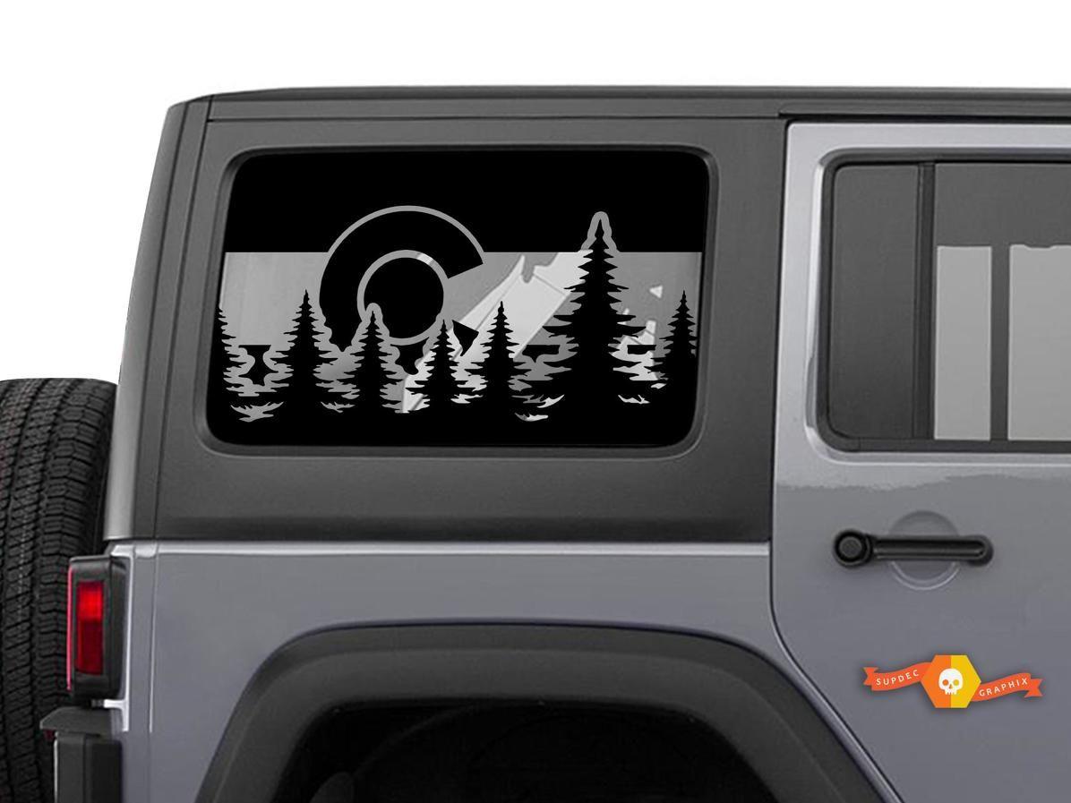 Jeep Wrangler Colorado Flag Windshield Decal JKU JLU 4Dr