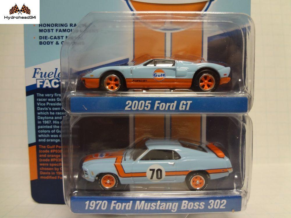 Johnny Lightning Gulf 2005 Ford Gt 1970 Mustang Boss 302 2 Pack Jlpk004 18y Johnnylightning Ford Gt Lightning Cars Diecast Cars