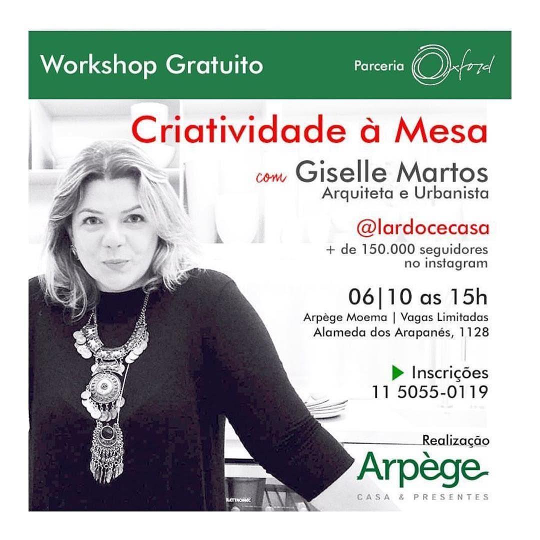 Amanhã tem workshop na @arpegepresentes em São Paulo... As vagas são limitadas então corra para garantir a sua!#workshoplardocecasa #lardocecasa #mesahits #mesaposta #workshop #saopaulo #criatividadeamesa #recebercomcharme #tabledesigner #tabledecor