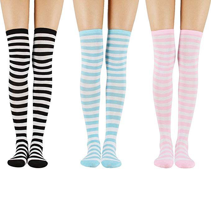 ca9c51eb193 Zando Women s Long Striped Socks Over the Knee Stocking Socks Cosplay High  Thigh Sock Soft Leg