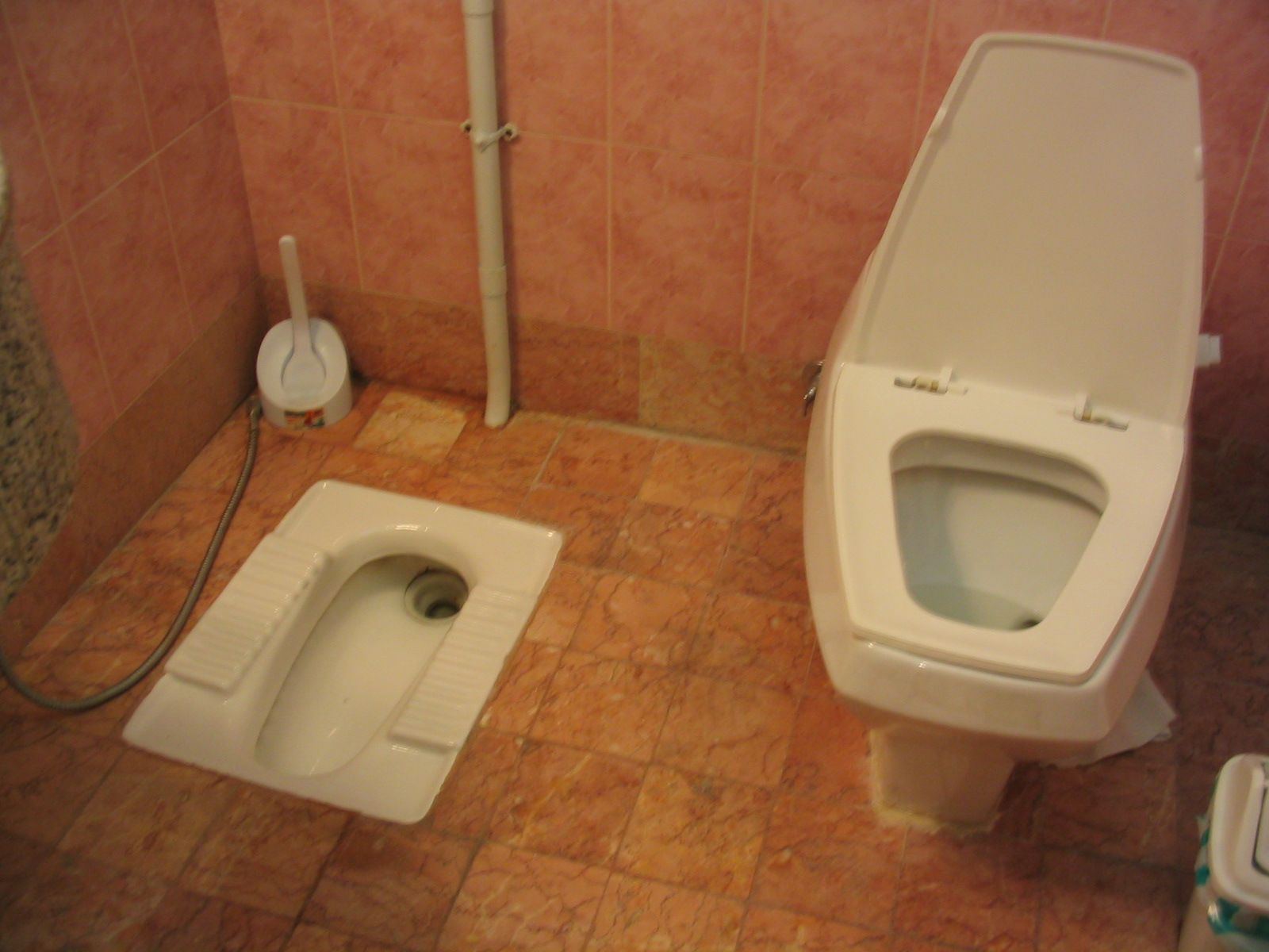 Japanese style toilet on the left... It\'s the most difficult thing ...