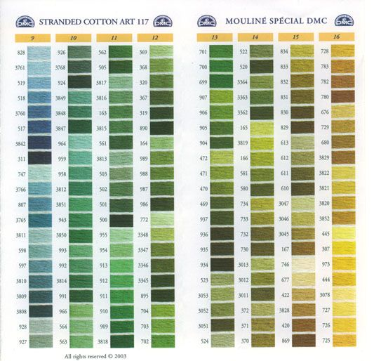 Shades Of Green Color - DMC Embroidery Threads | Green | Pinterest | Best Colour Chart ...