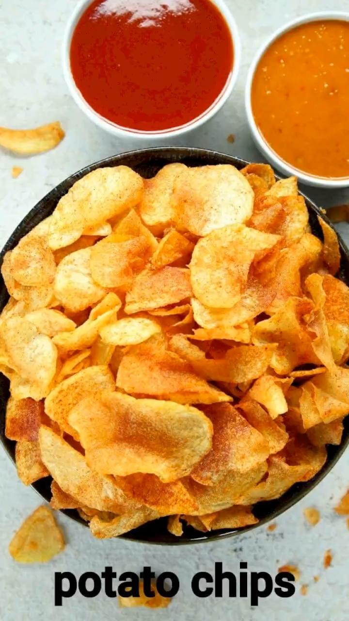 potato chips recipe | homemade potato wafers | alo