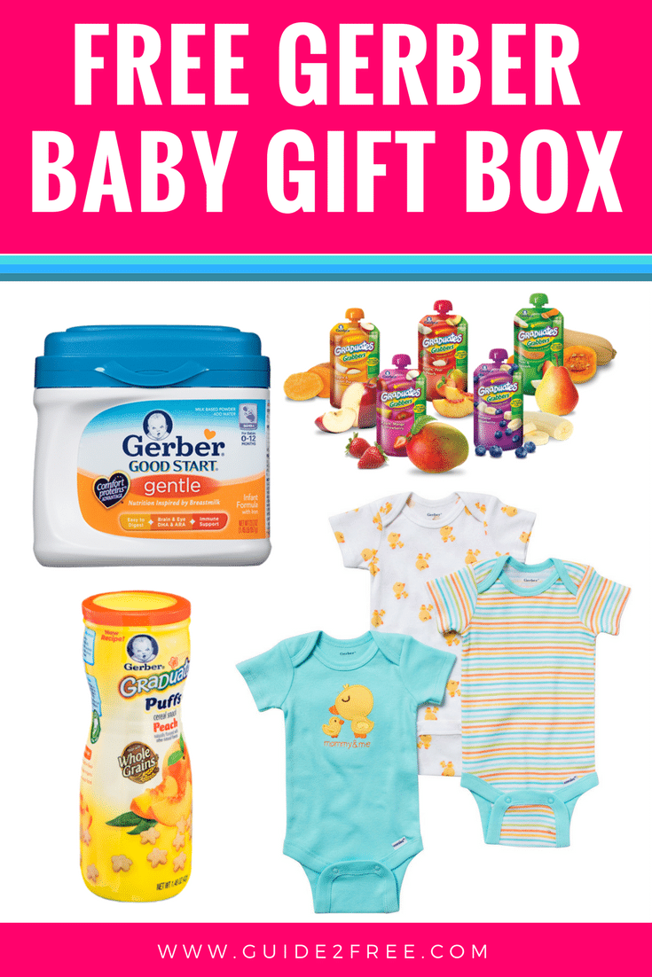 get a free gerber baby gift box full of free products like baby formula onsies