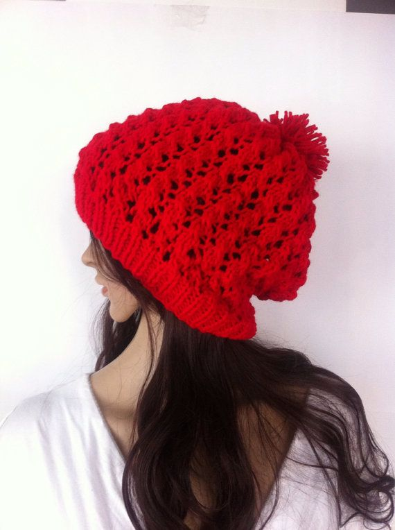 Red color Slouch Beanie Slouchy  Hat Button Hand by LoreNovedades