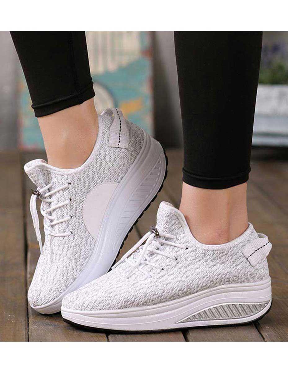 Women S White Flyknit Rocker Sole Shoe Sneakers Texture Pattern Design Drawstring Lace Up Fastening Casual Shape Up Shoes Women Platform Shoes Rocker Shoe