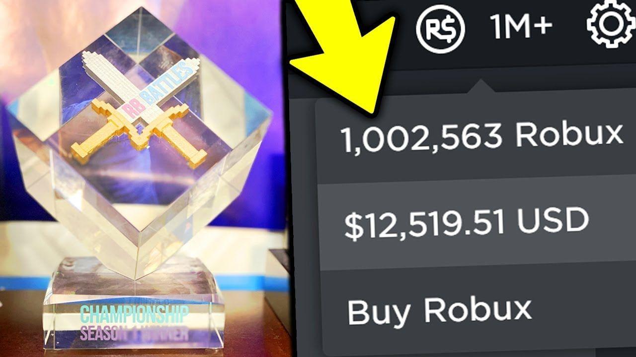 I Won The Rb Battles Championship 1 Million Robux Roblox