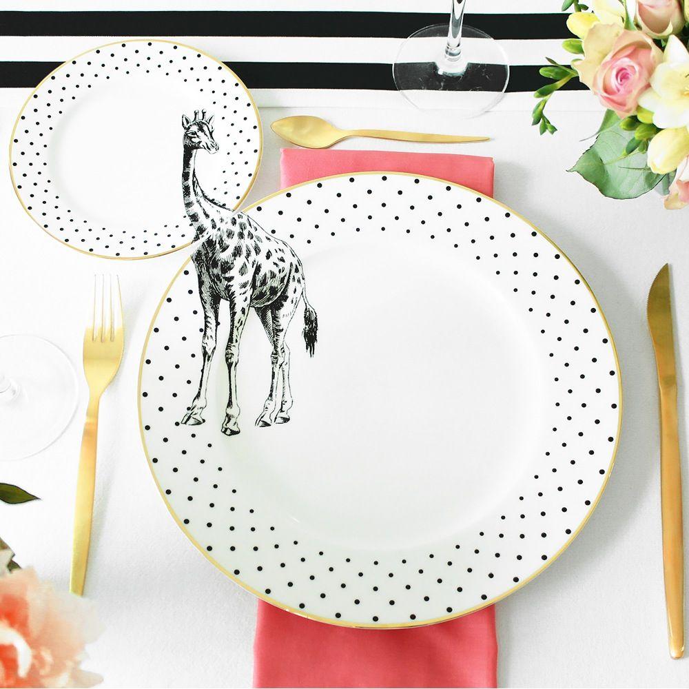 Matching Plate Set Goals | Giraffe | Polka Dots | Gold Rim | Dinner Plate | Yvonne Ellen