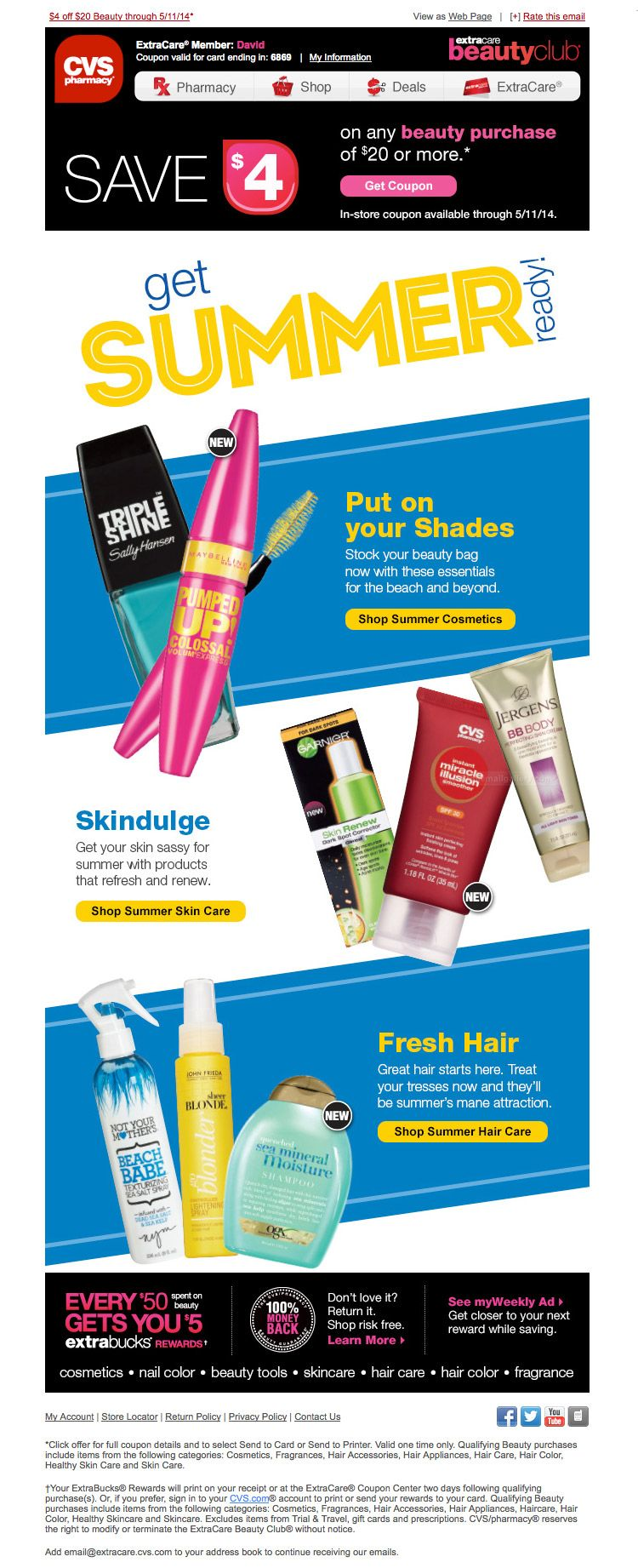 CVS Summer Beauty Purchase email Summer beauty, Email