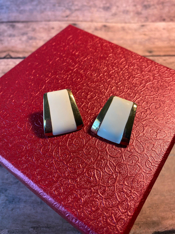 Vtg White Enamel Earrings Retro White and Gold Enamel
