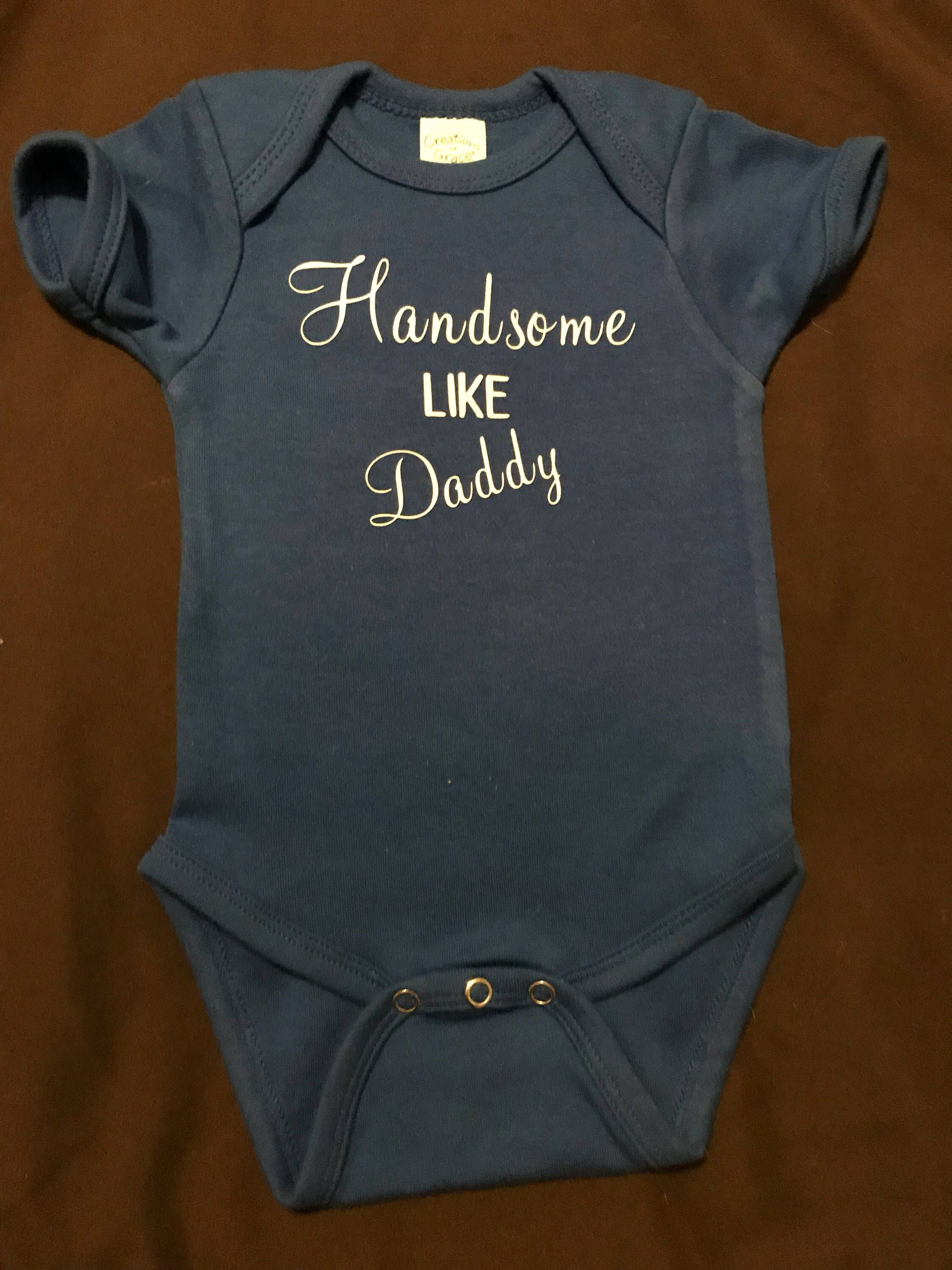 1eedd4b58 Excited to share this item from my #etsy shop: Handsome Like Daddy - Baby  Onsies #children #baby #handsomelikedaddy #daddy #handsome #gohomeoutfit  #boy