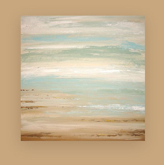 Shabby Chic Art Original Acrylic Abstract Beach Painting Led A Dream Of Summer By Ora Birenbaum