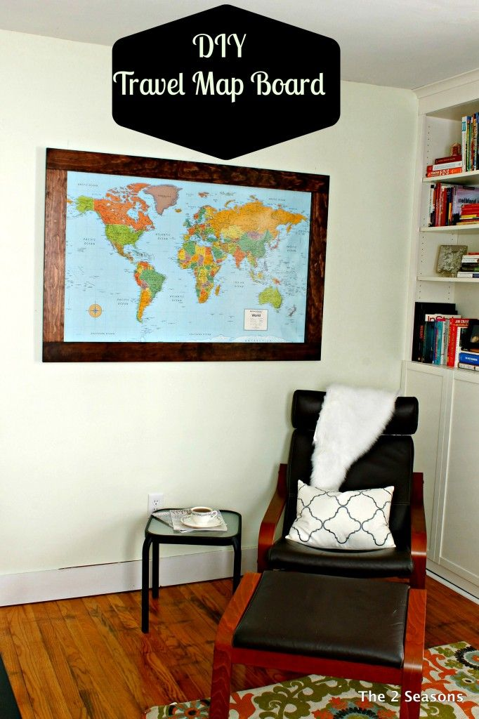 Make your own frame and travel map board the 2 seasons diy turn your world travel map into art with this cute diy travel map board project gumiabroncs Image collections