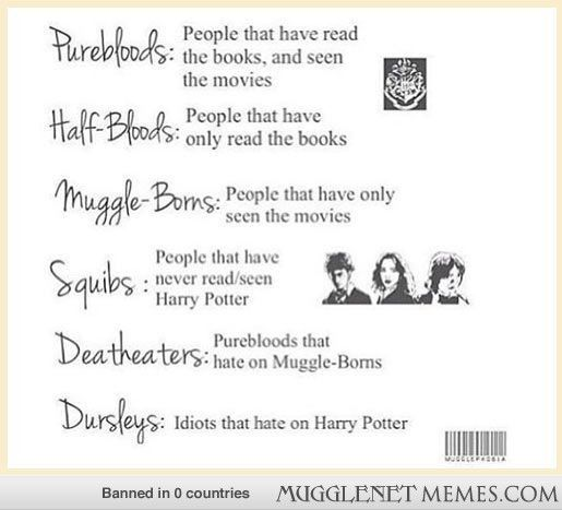Squib should be people who haven't read or seen Harry Potter but tried to and there should be muggle for people that haven't seen or read Harry Potter at all