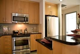 Third Rail Lofts - Kitchen is very spacious and modern.