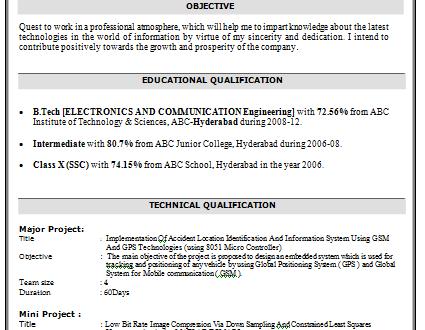 B Tech Resume Resume Examples Tech