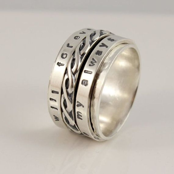 Celtic Spinner Ring You Will Forever Be My Always Sterling