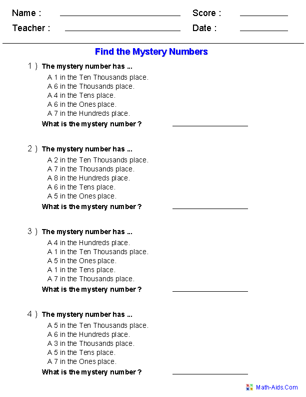 find the mystery number worksheets place value. Black Bedroom Furniture Sets. Home Design Ideas