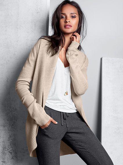 d8e0b34e7025f Shawl-collar Cardigan Sweater, Modern Sweatpant #MyVSFallEdit ...