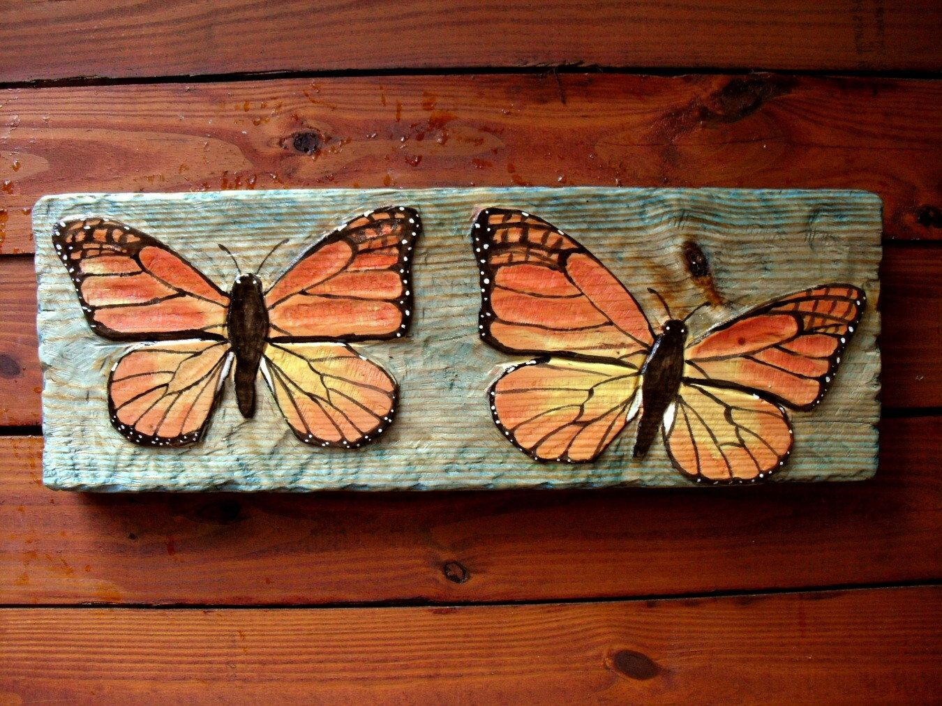 Two butterfly relief x inch chainsaw wood carving wall mount