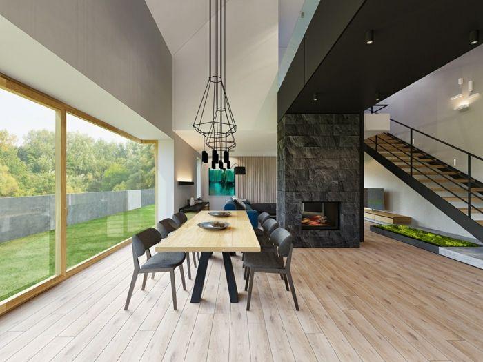 1001 ideas de comedores modernos seg n las ltimas for Salones minimalistas con chimenea