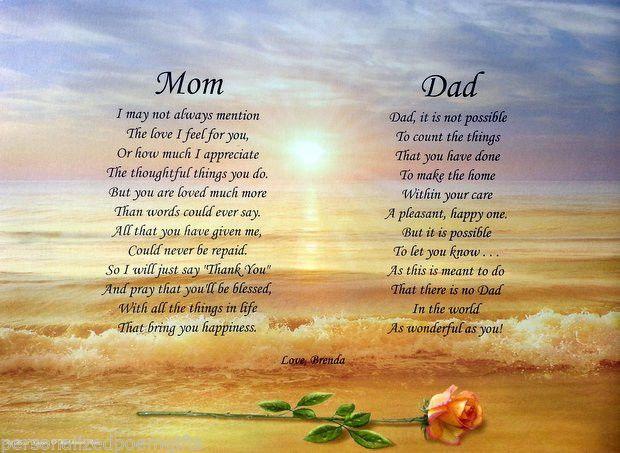 Mom dad poems personalized print anniversary christmas