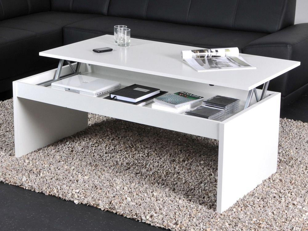 Table Basse Rectangulaire En Bois L120cm Avec Plateau Relevable Darwin Blanc Table Basse