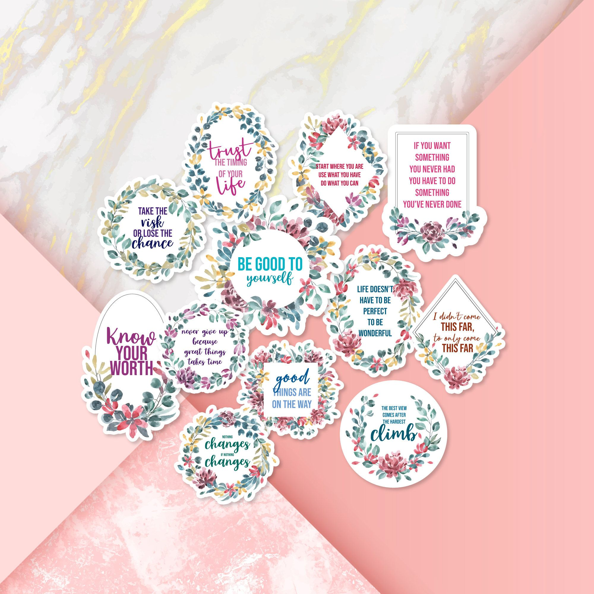 Glossy Planner//Diary//Scrapbooking Stickers Silver Foil Christmas Quotes