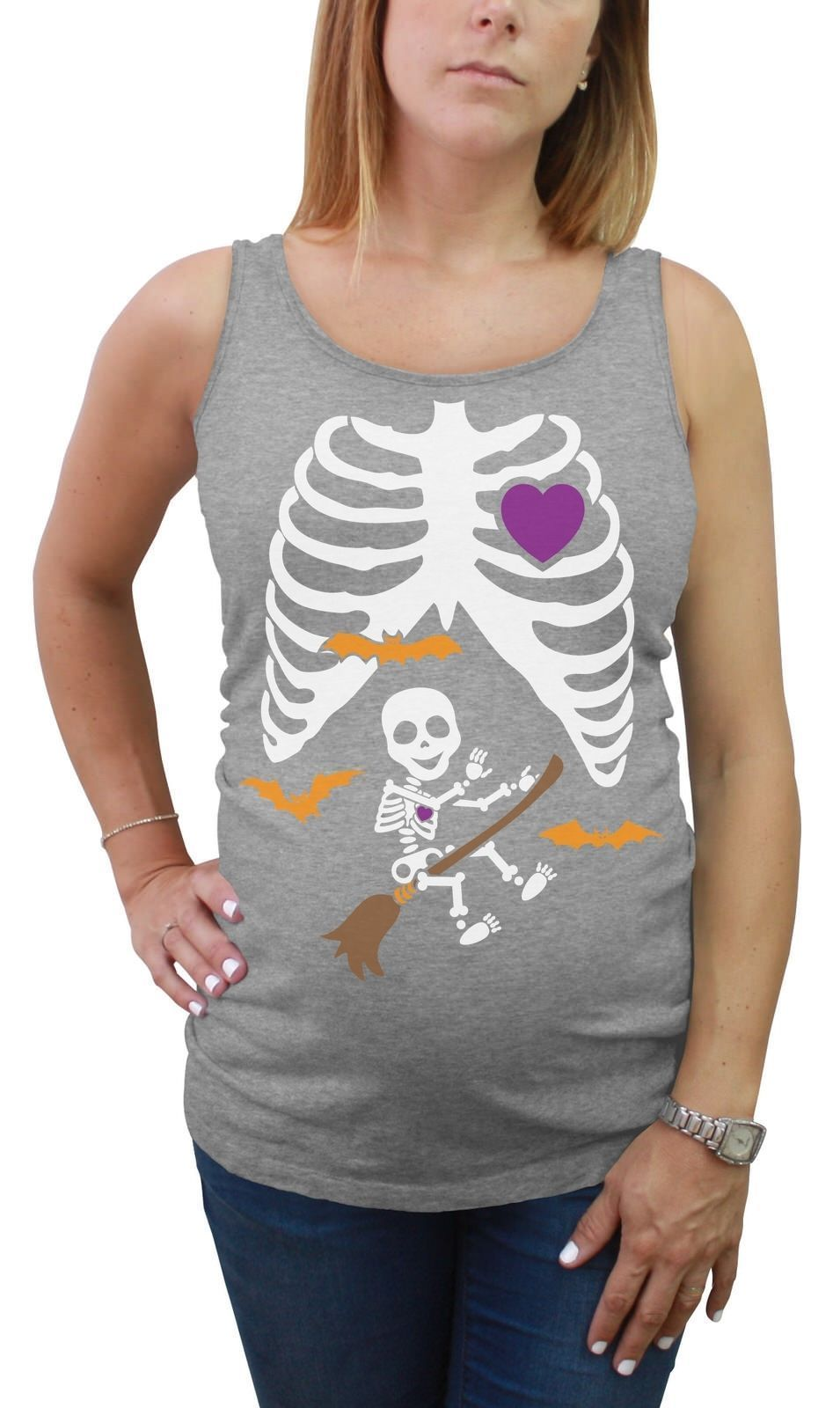 d27efd914ba82 Halloween Pregnant Xray Baby Broom Witch Skeleton Maternity Tank Top Tunic  Funny