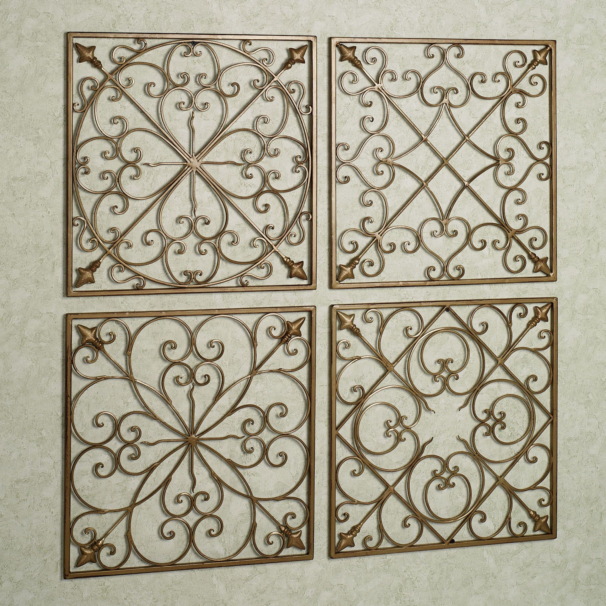 Wrought Iron Wall Grille Lachandra Satin Gold Iron Square Wall Grille Set  Wrought Iron
