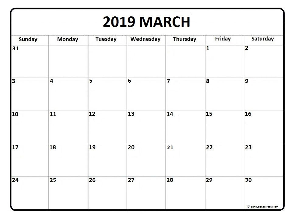 March Calendar 2019 Printable And Free Blank Calendar