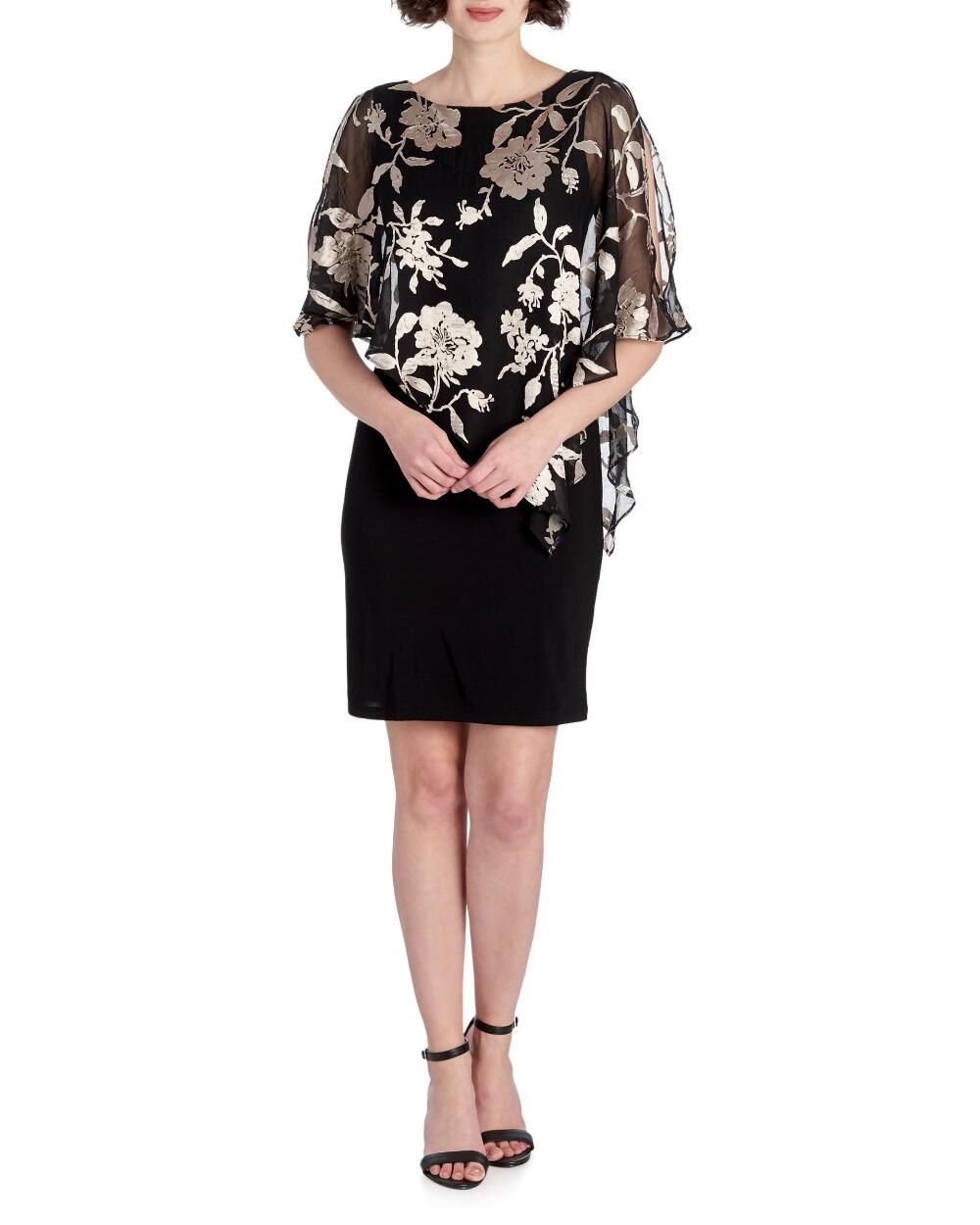Metallic Floral Chiffon Poncho Sheath Dress Shop By Occasion Dresses Stein Mart Floral Chiffon Sheath Dress Chiffon [ 1250 x 1000 Pixel ]