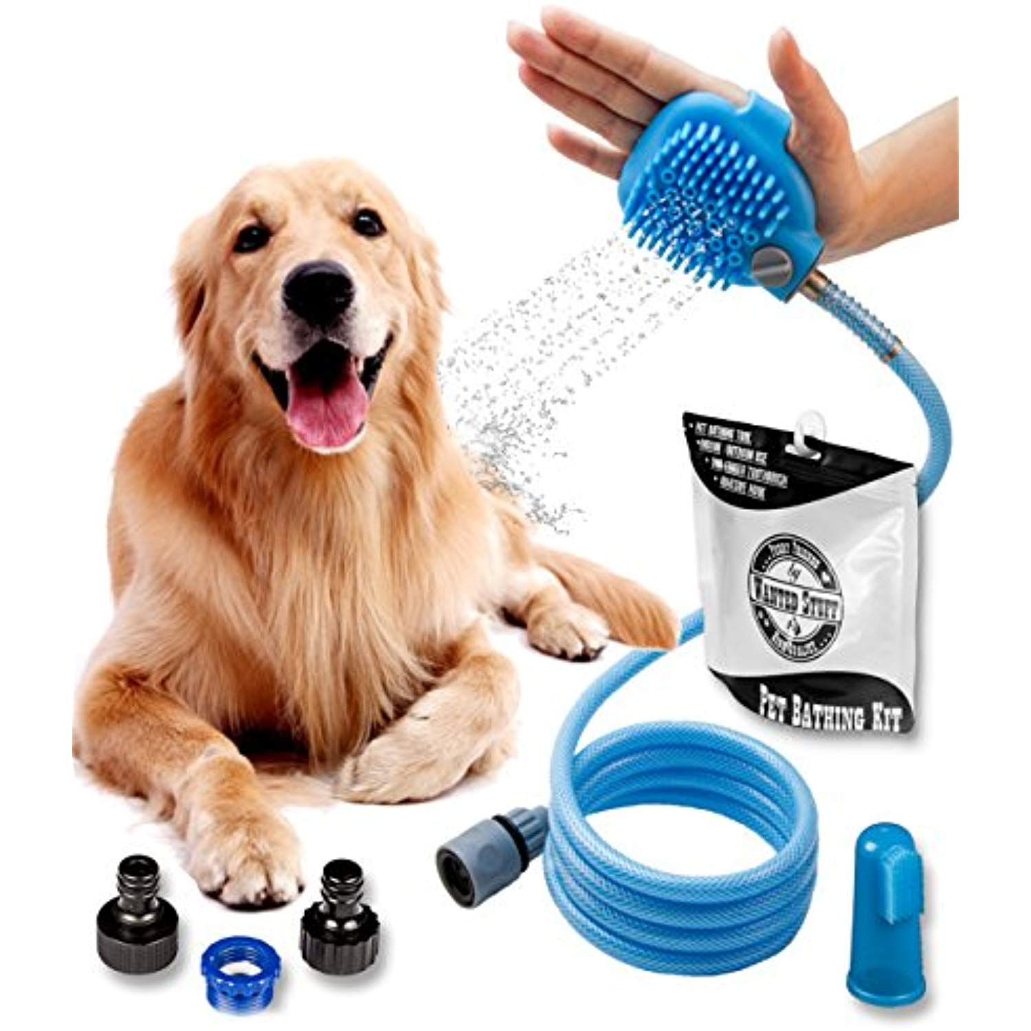 Wantedstuff 3 In 1 Pet Shower Kit With Free Dental Finger Brush