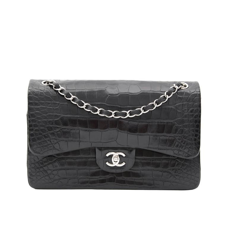 371b139025b2 Rare Chanel Alligator Jumbo Double Flap Black