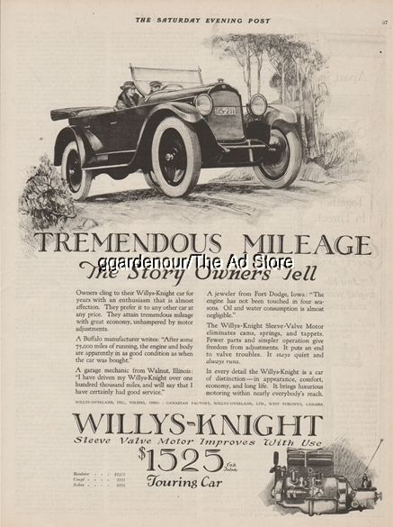1922 Willys Overland Toledo Oh Knight Engine Motor Touring Open Motor Car Art Ad Automobile Advertising Willys Motor Car