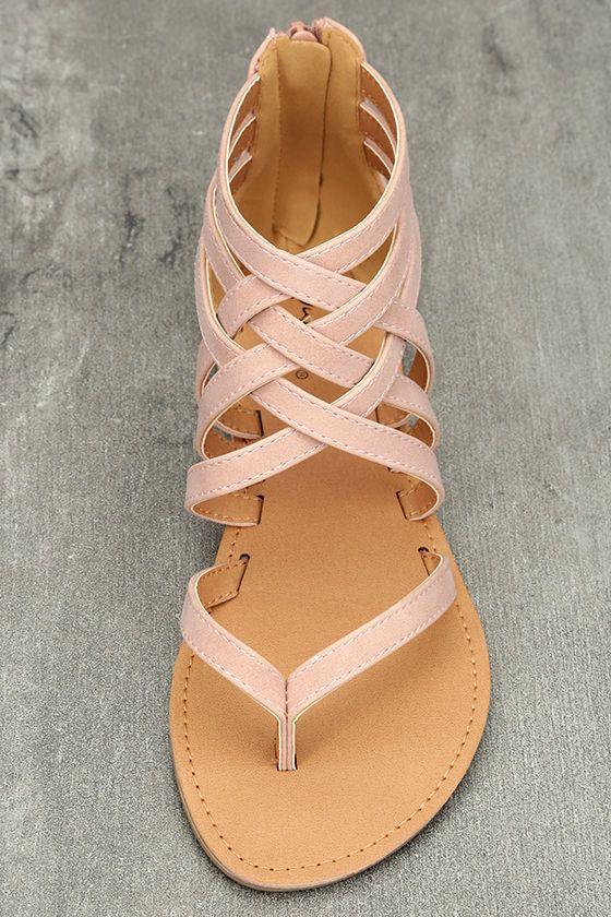 a4d3e30fc155 Cairo Queen Blush Nubuck Strappy Thong Sandals