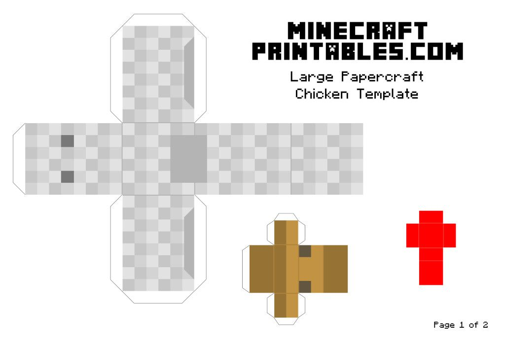 Minecraft printable papercraft chicken template large for Minecraft cut out templates