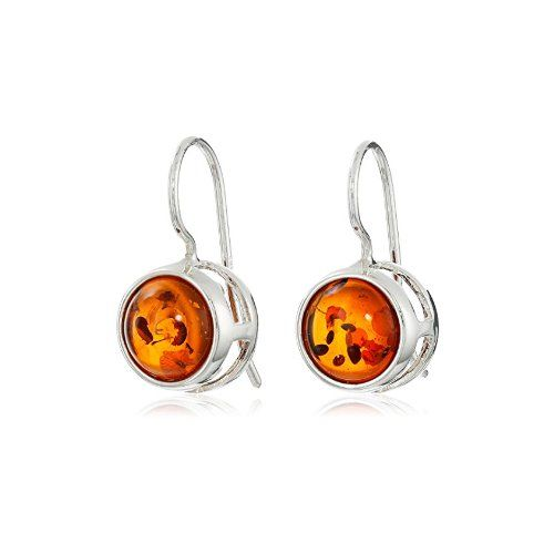 Sterling Silver Honey Amber Barrel Earrings - $40